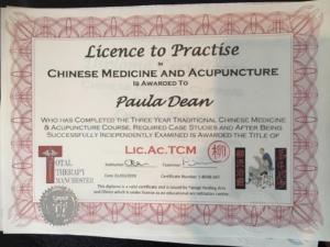 Acupuncture qualification certificate
